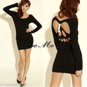 Black Fitted Skull Cutout Back Dress